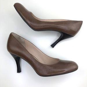 Franco Sarto Brown Leather Round Toe Pumps